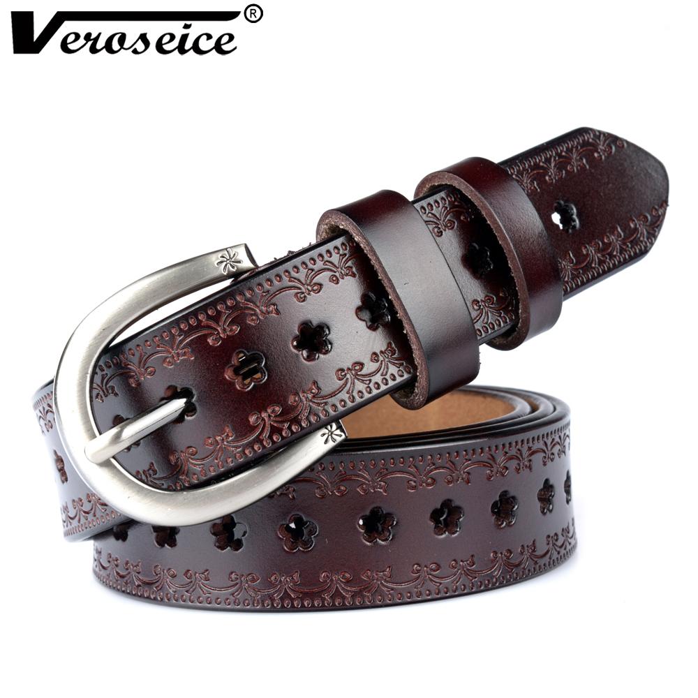 [해외][Veroseice] ping 새로운  가죽 여성 벨트 cummerbunds 벨트 여성 암소 가죽 꽃 구멍 스트랩 여성 허리 벨트/[Veroseice] ping New Genuine Leather Women Belt cummerbunds Belt Woman Co