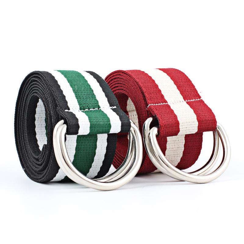 [해외]2018 Black Red UniHarajuku 남성용 여성용 허리 벨트 나일론 캔버스 벨트 허리띠띠 Ceinture Double D 링 레인보우 벨트 kemer/2018 Black Red UniHarajuku Waist Belt for Men Women Nyl