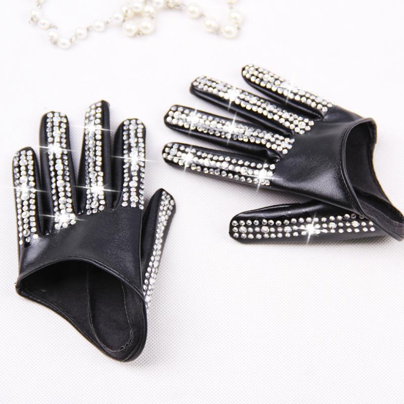 [해외]여자의 패션 하프 팜 장갑 레이디 & 레드 화이트 블랙 PU 가죽 장갑 남자 & s 힙합 라인 석 diy 춤 장갑/Women&s fashion half palm Gloves lady&s red white black PU leather gloves