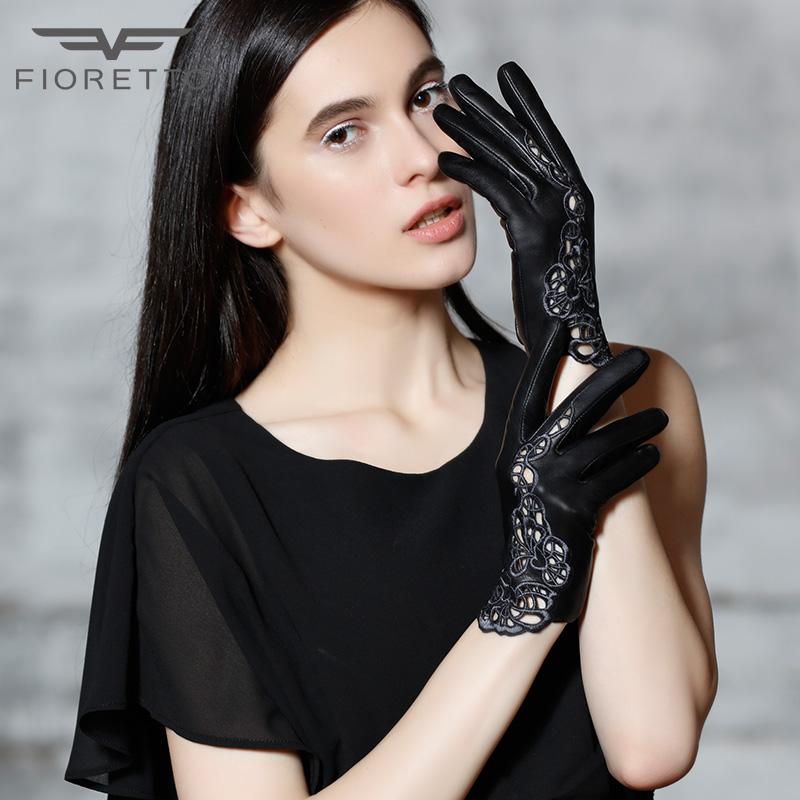 [해외]Fioretto  가죽 장갑 여성용 터치 스크린 장갑 숙녀 장갑 Mittens Black Hollow 레이스 꽃 Unlined 운전 장갑/Fioretto Genuine Leather Gloves Women Touchscreen Gloves Ladies Glove