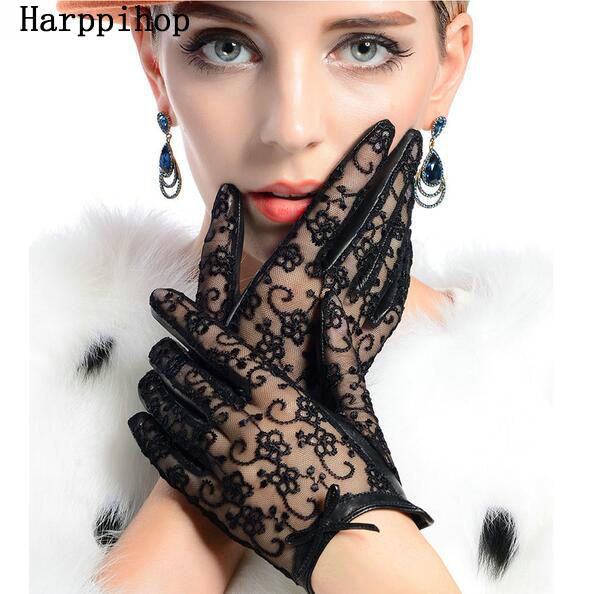 [해외]2017 Medival 여성 레이스  가죽 장갑 Unlined 나파 양가 손목 들어 갔어 장갑/2017  Medival  Women Lace Genuine Leather Gloves Unlined Nappa Lambskin Wrist Sunscreen Glove