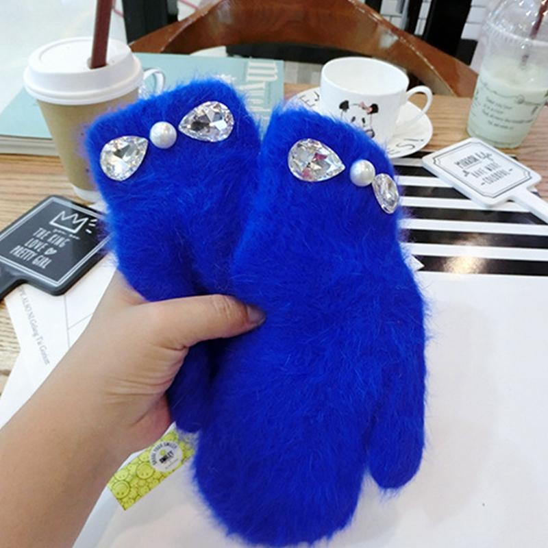 [해외]2017 여성 겨울 장갑 패션 Pearlcrystal 토끼 모피 장갑 소녀 겨울 야외 장갑 6 색/2017 women  winter glove Fashion Pearlcrystal Rabbit Fur Gloves Girl winter outdoor mittens