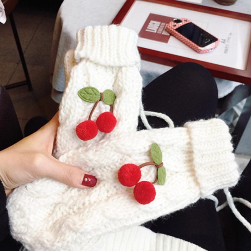 [해외]?패션 여성 두꺼운 WoolSweet 체리 숙녀 장갑 여자 니트 목에 대한 겨울 니트 트위스트 장갑 여성 장갑/ Fashion Women Thick WoolSweet Cherry Ladies Gloves Winter Knitted Twist Gloves For