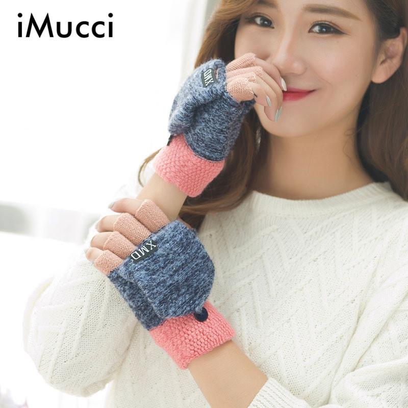 [해외]iMucci 패션 겨울 여성 Clamshell 아크릴 핑거리스 장갑 다기능 귀여운 웜 패치 워크 장갑 학생 femme/iMucci Fashion Winter Women Clamshell Acrylic Fingerless Gloves Multifunctional