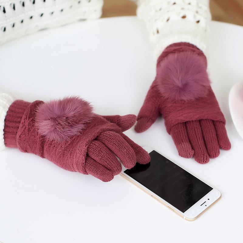 [해외]터치 스크린 장갑 여성 겨울 따뜻한 더블 레이어 분리 가능한 핑거리스 장갑 여성 토끼 모피 포옴 폼 장갑 갠트 Femme/Touch Screen Gloves Women Winter Warm Double layer Separable Fingerless Gloves