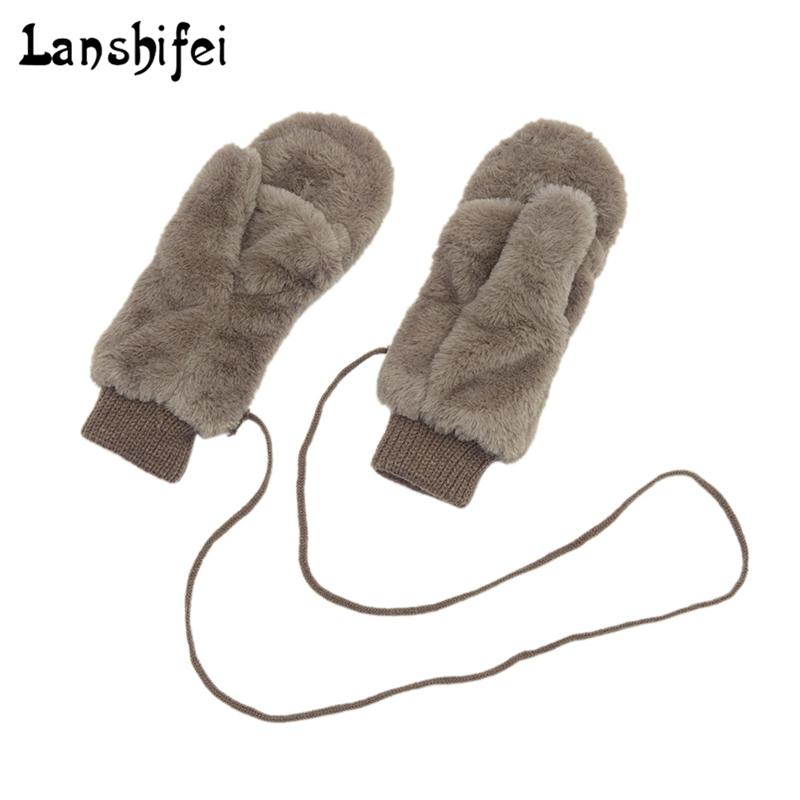 [해외]겨울에 여성을귀여운 전체 덮힌 벙어리 장갑 견고한 장갑 목에 푹신한 토끼 듀얼 레이어 교수형 장갑/Winter Thickened Cute Whole Covered Finger Mittens for Women Plush Gloves Fluffy Rabbit Dua