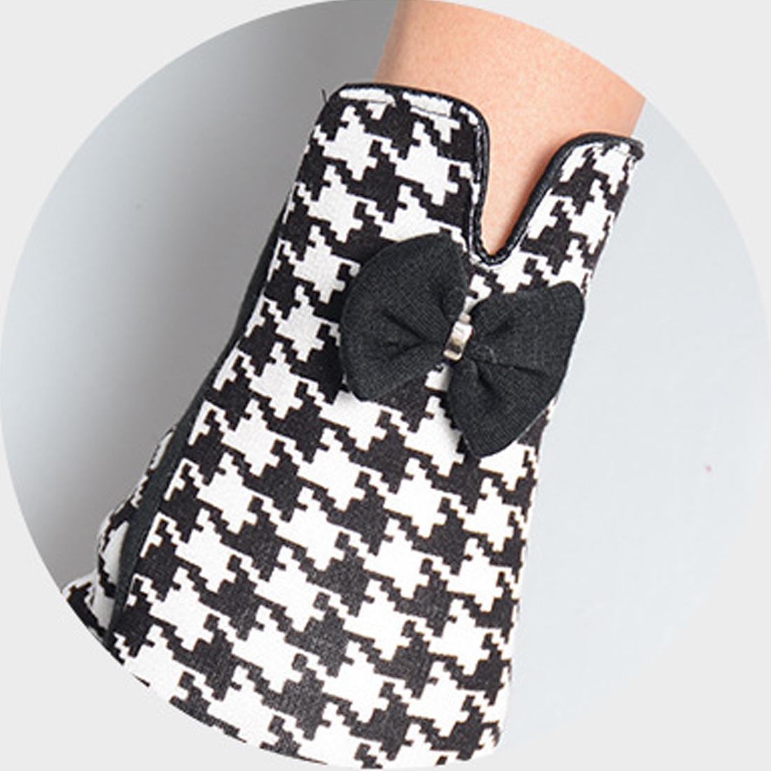 [해외]블랙 화이트 격자 무늬 여성 장갑 따뜻한 겨울 장갑 2017 격자 Guantes Bowknot Mitaine 장갑/Black White Plaid Female Gloves Warm Winter Mittens 2017 Lattice Guantes Bowknot M
