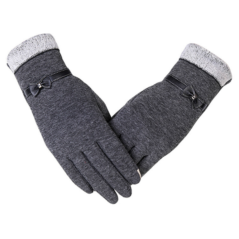 [해외]HETOBETO 새로운 패션 여성 장갑 가을 겨울 귀여운 활 따뜻한 밋밋한 전체 손가락 장갑 여성 캐시미어 여성 장갑/HETOBETO New Fashion Women Gloves Autumn Winter Cute Bow Warm warmer Mitts Full