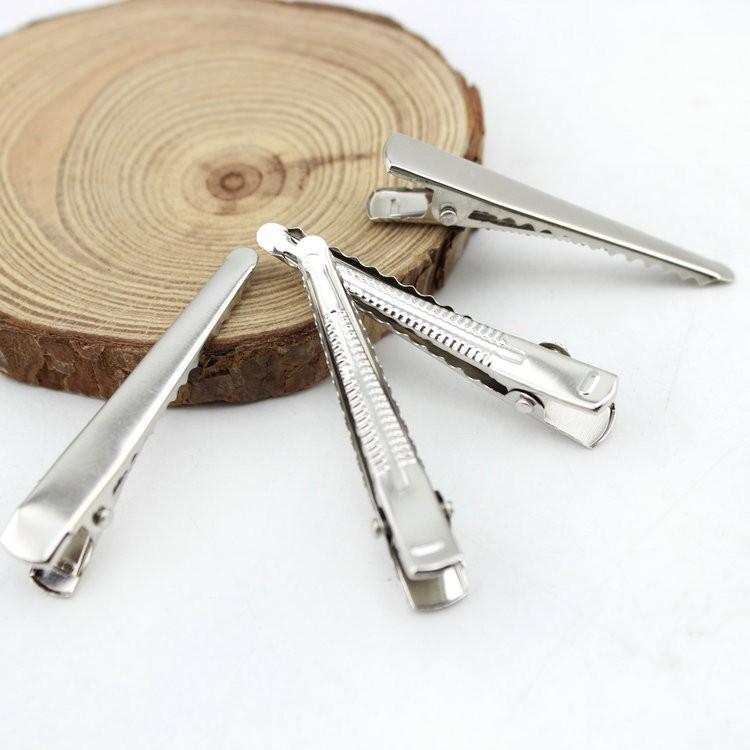 [해외]100 개 / 팩 4.5cm 실버 평면 금속 SHARP 악어 머리핀 자용 바레트 헤어핀 DIY 헤어 액세서리/100 pcs/PACK 4.5cm Silver Flat Metal SHARP Alligator Hair Clips Barrette hairpins for