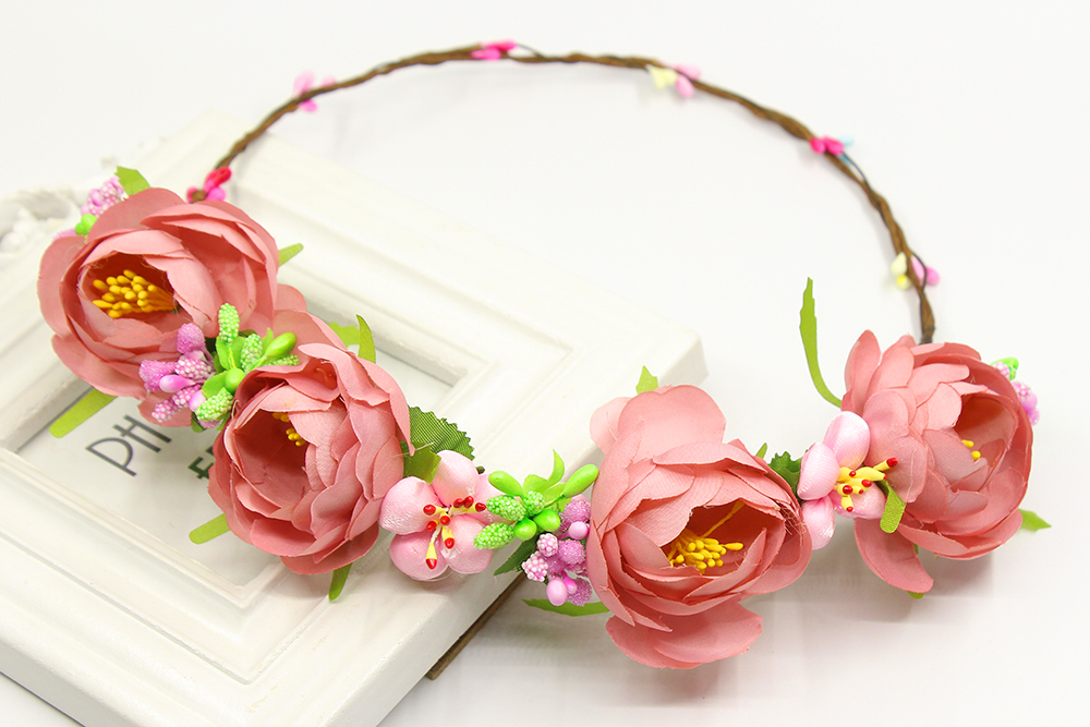 [해외]핑크 장미 꽃 수제 꽃 신부 머리 화환 결혼식 댄스 파티 헤드 피스 액세서리 신부 들러리 꽃 소녀 머리띠 축제/Pink rose flower handmade flower Bridal Hair Wreath Wedding Prom Headpiece Accessori
