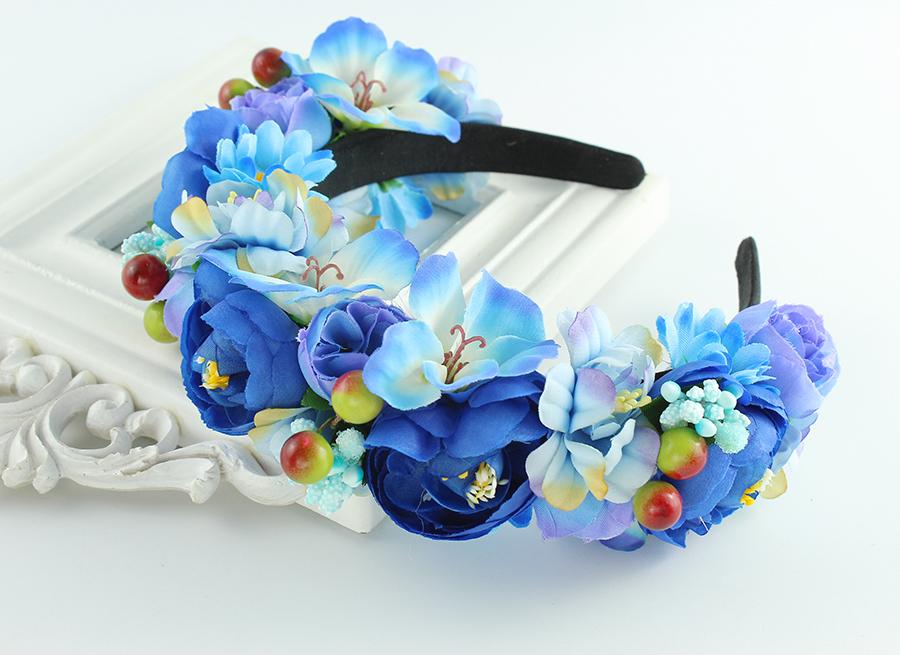 [해외]수제 꽃 머리띠 여자 여자 웨딩 파티 헤어 액세서리 신부 들러리 꽃 화환 티아라 헤드 피스/Handmade Flower Headband Woman Girls Wedding Party Hair Accessories Bride Bridesmaid Flower Gar