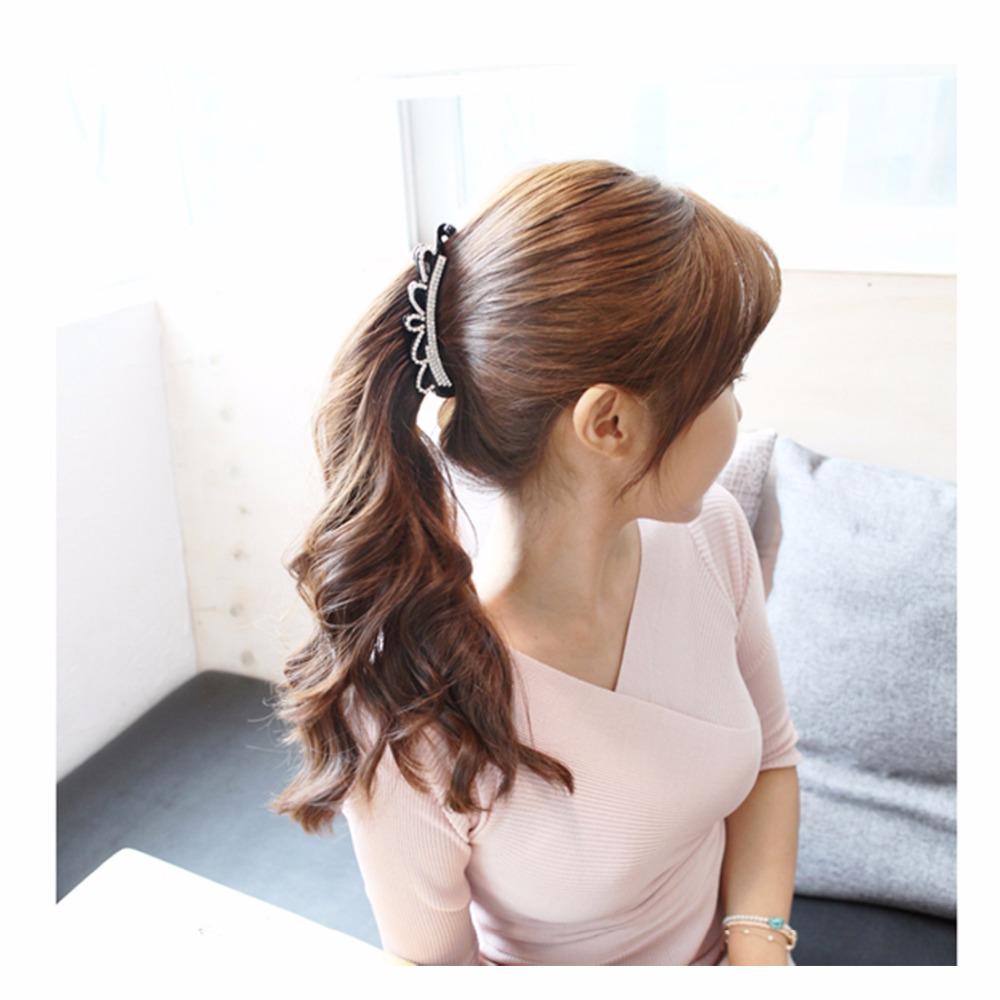 [해외]크라운 헤어 핀 롱 버렛 웨딩 헤어 액세서리 포니 테일 헤어 클립 헤어 쥬얼리 여성용 블랙 / 브라운 10.5cm HC521/Crown Hair Pins Long Barrettes Wedding Hair Accessories Ponytail Hair Clips