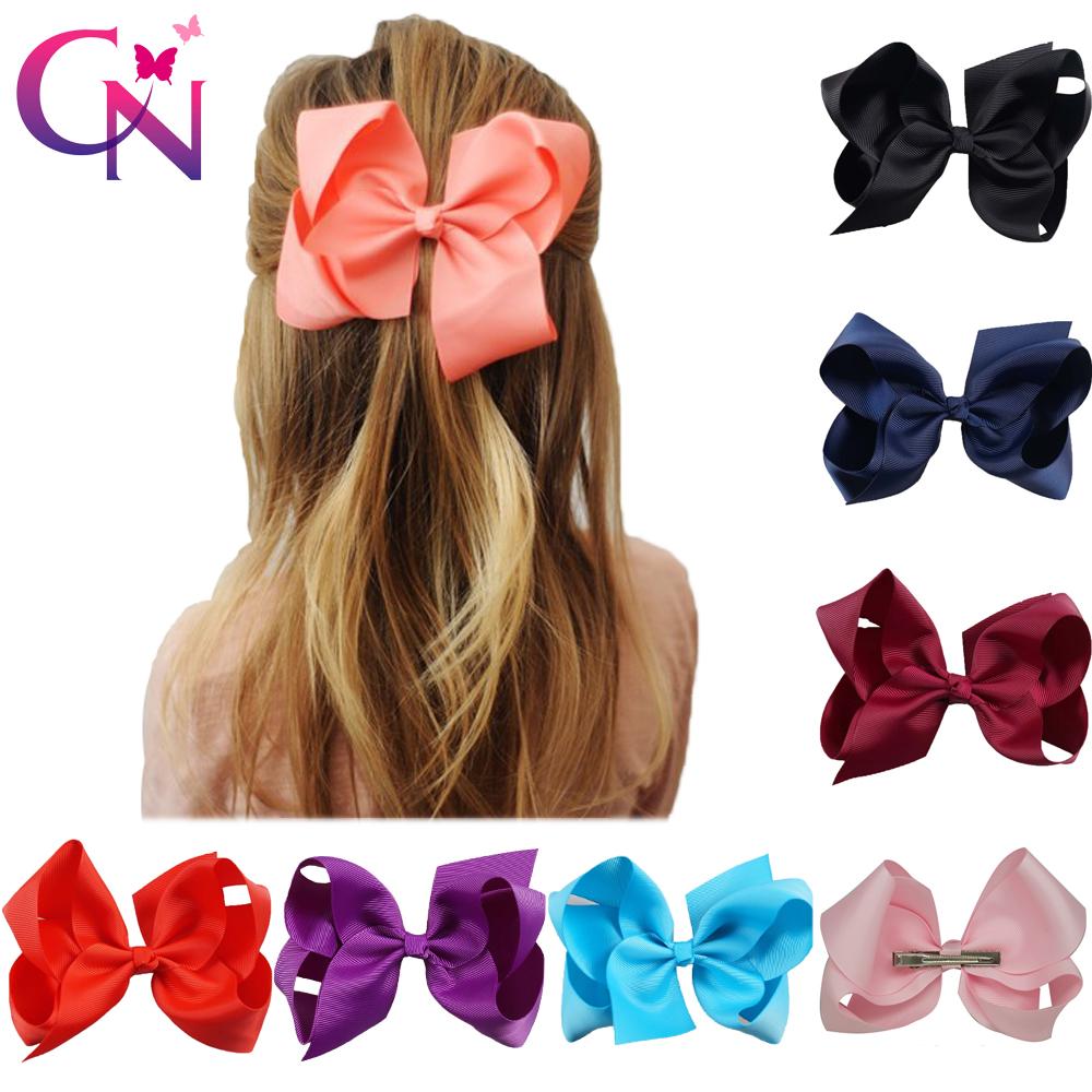 [해외]30 Pcs / lot 6 & 일반 리본 매듭 머리카락 보우 클립 아이들을소녀 손수 부티크 헤어 액세서리 클립 모자/30 Pcs/lot 6& Plain Ribbon Knotted Hair BowClip For Kids Girls Handmade Bouti
