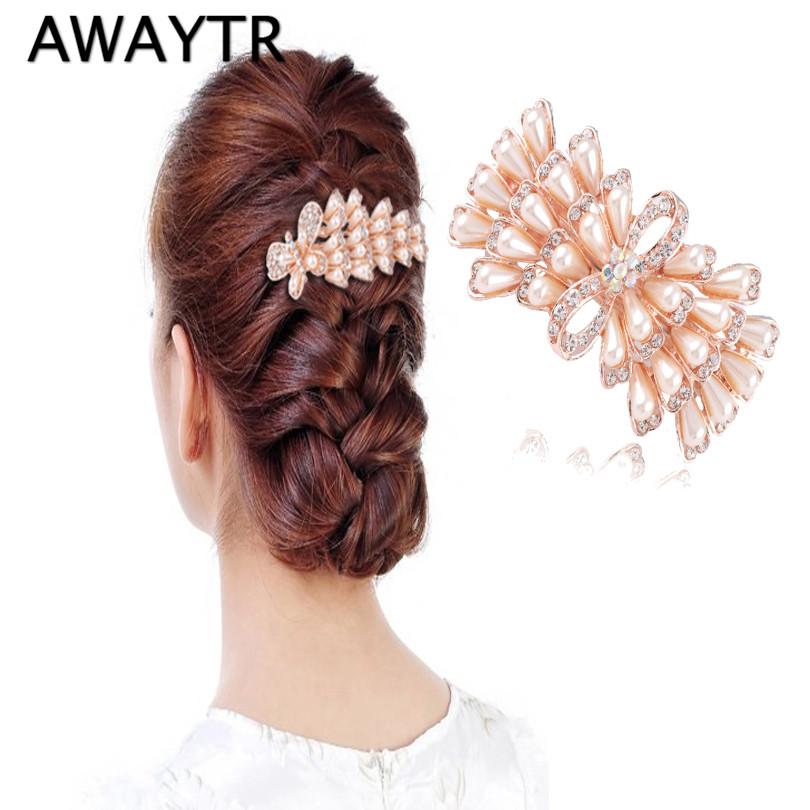 [해외]AWAYTR 새로운 디자인 공작 절묘한 머리 부속품 Rhinestones 진주 머리핀 머리핀 여자의 결혼식을머리핀 Barrettes/AWAYTR New Design Peacock Exquisite Hair Accessories Rhinestones Pearl H