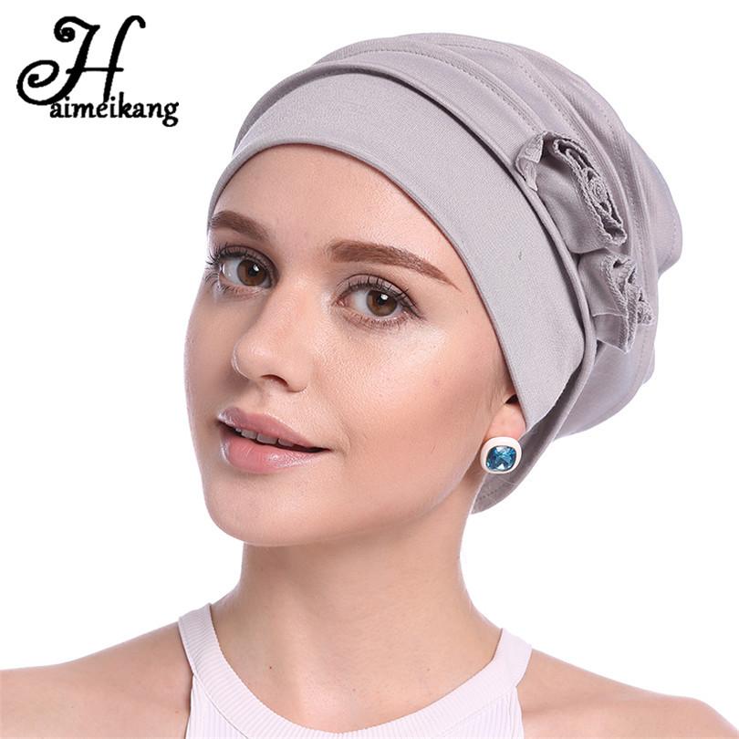 [해외]Haimeikang 최신 헤어 액세서리 이슬람 탄성 Turban 모자 가을 겨울 면화 꽃 머리띠 모자 머리 장식/Haimeikang Newest Hair Accessories Muslim Elastic Turban Cap Autumn Winter Cotton F