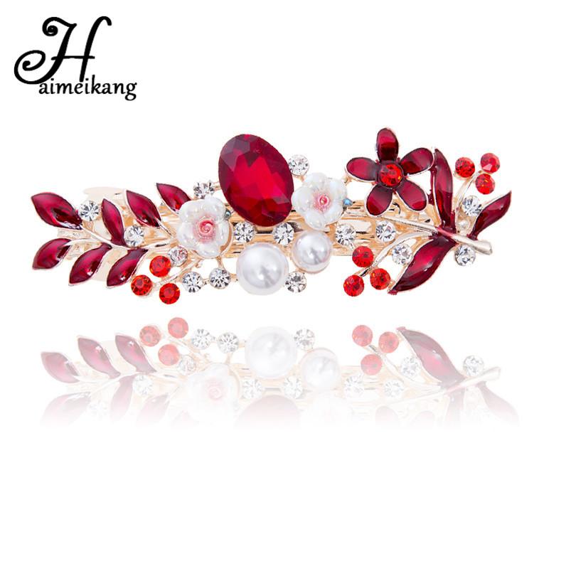 [해외]Haimeikang 2017 여자 패션 크리스탈 꽃 모양의 머리핀 머리 핀의 모자를 쓰고 있죠 신부 웨딩 라인 석 바레트 헤어 쥬얼리/Haimeikang 2017 Women Fashion Crystal Flower Shaped Hair Clip Hairpin H