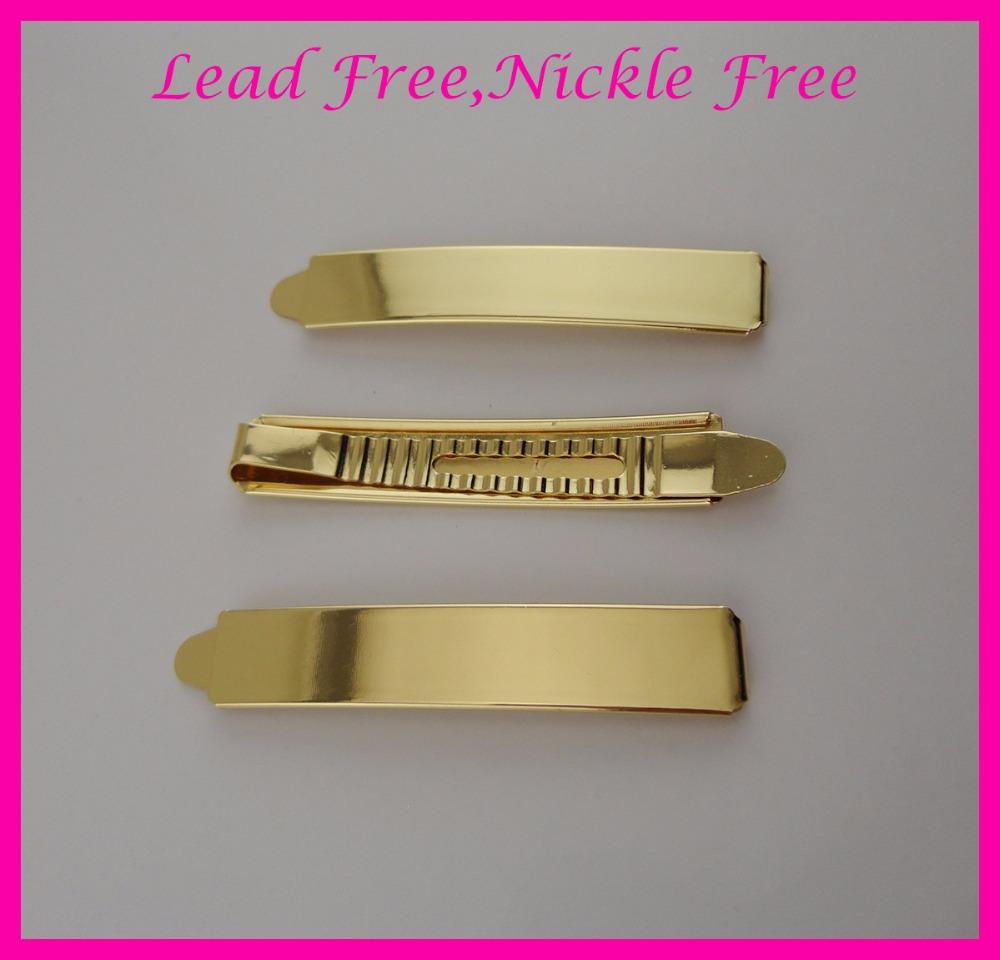 [해외]10PCS 1.3CM * 7.2cm 2.85 & Golden Plain Metal Slide 무연 및 니켈 프리 바비 핀, 금속 헤어 바레트 클립/10PCS  1.3CM*7.2cm 2.85& Golden Plain Metal Slide Bobby pins