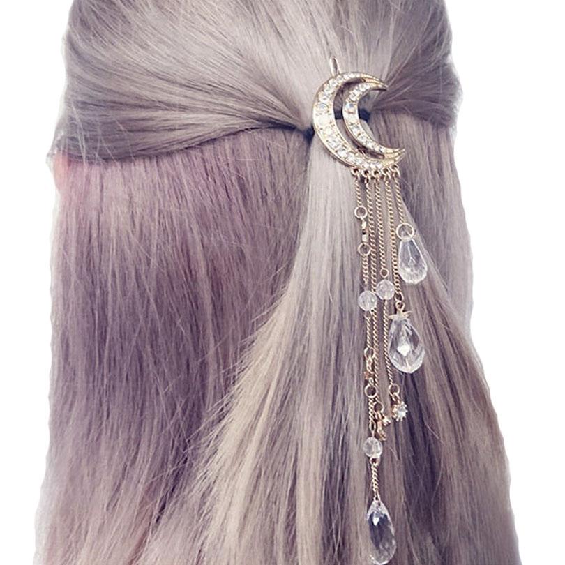 [해외]Haimeikang 절묘한 금은 /은 / 골드 골드 크리스탈 달 머리 클립 술 머리핀은 긴 머리 액세서리를 장미/Haimeikang Exquisite Gold/Silver/Rose Gold Color Crystal Moon Hair Clip Tassel Hair
