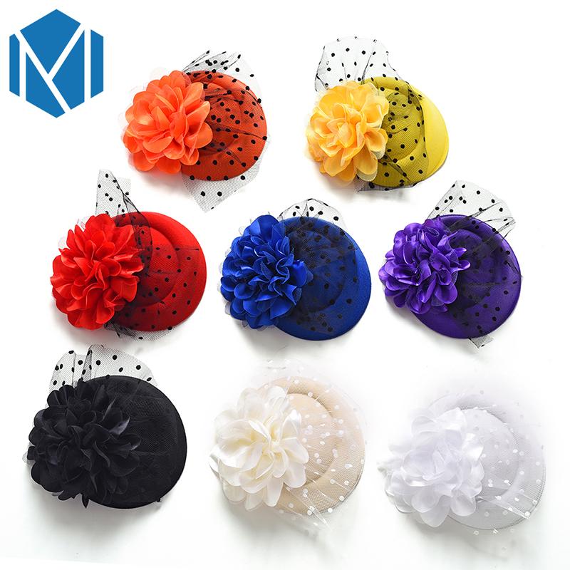[해외]꽃 모자 털실 머리핀 헤어 클립 파티 매혹적인 여성 꽃 헤어 그립 머리 장식 헤어 액세서리 소녀 축제 클램프 자용/Floral Hat Yarn Hairpin Hair Clip Party Fascinator Women Flower Hairgrip Headwear