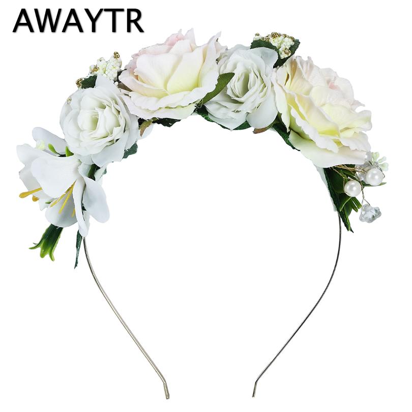 [해외]꽃 머리띠 AWAYTR 신부 헤어 장식품 꽃 진주 Hairbands 여성용 Headpieces 봄 결혼식 Garlands 크라운/Flower Headbands AWAYTR Bridal Hair Ornaments Floral Pearl Hairbands for W