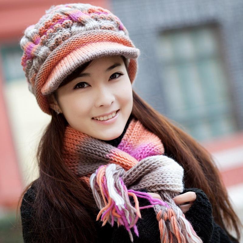 [해외]방한 모자 겨울 모자 여성 스카프 모직 모자 twinset 니트 베레모 모자 양모 여성 겨울 따뜻한 모자 스카프 세트/Thermal cold-proof winter hat female knitted hat scarf wool cap twinset knitted