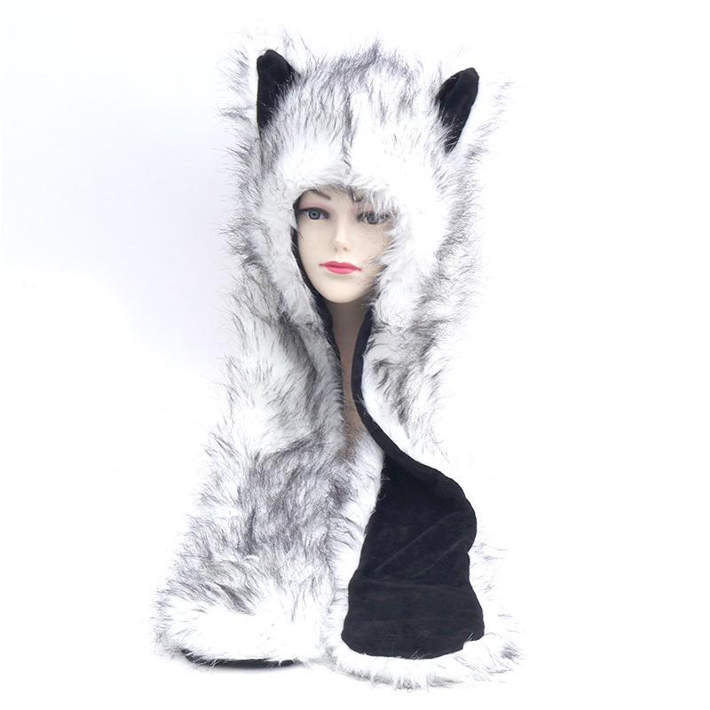 [해외]HONGZUO Brand 2017 겨울 새 도착 화이트 폭스 후드 동물 귀여운 가짜 코스프레 모피 모자 모자 스카프, 모자 & 장갑 세트 PC207/HONGZUO Brand 2017 Winter New Arrival White Fox Hooded Anim
