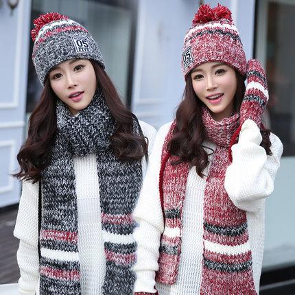 [해외]여자 겨울 모자 및 장갑 세트 코 튼 패션 여성 모자 스카프 장갑 세트 솔리드 모자 및 스카프 세트 여성 니트/Woman Winter Hat and Gloves Sets Cotton Fashion Women Hat Scarf Gloves Set Solid Hat