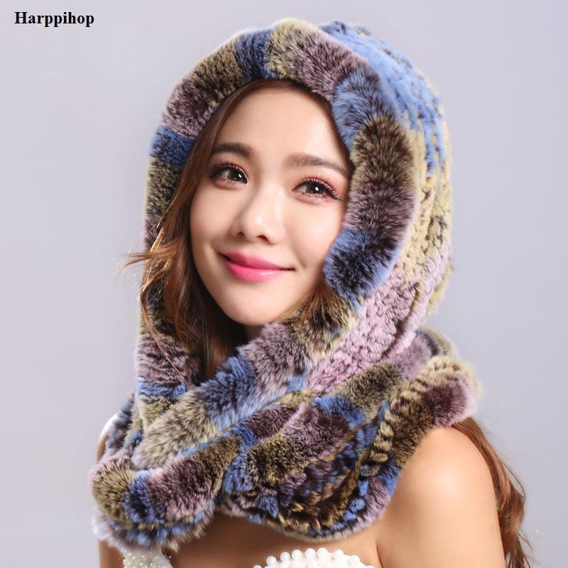 [해외]두꺼운 가을 겨울 따뜻한 진짜 토끼 모피 스카프와 모자 Womena 후드 렉스 토끼 모피 스카프 모피 모자 pashimina/Thick autumn winter warm real rabbit fur scarf and hat Womena hood rex rabbi