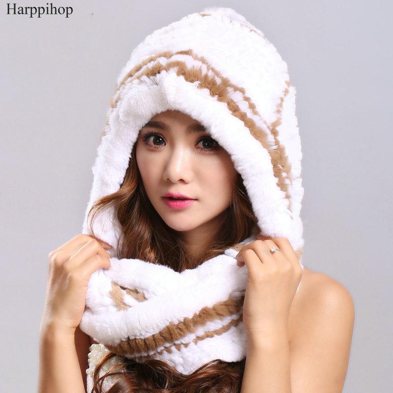 [해외]겨울 스카프 FurGenuine 모피 모자 여성용 새로운 럭셔리 모피 스카프 여성 우아한 니트 Real Rex Rabbit Fur Scarves Hooded/Winter Scarves FurGenuine Fur Hats For Women New Luxury Fu