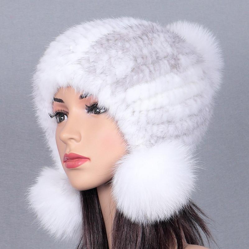 [해외]밍크 모피 모자 겨울 겨울 모자 밍크 모자 모피 두꺼운 밍크 모자/Mink fur weaving hat mink hair lady fox ball winter winter warm helmet hat thick new
