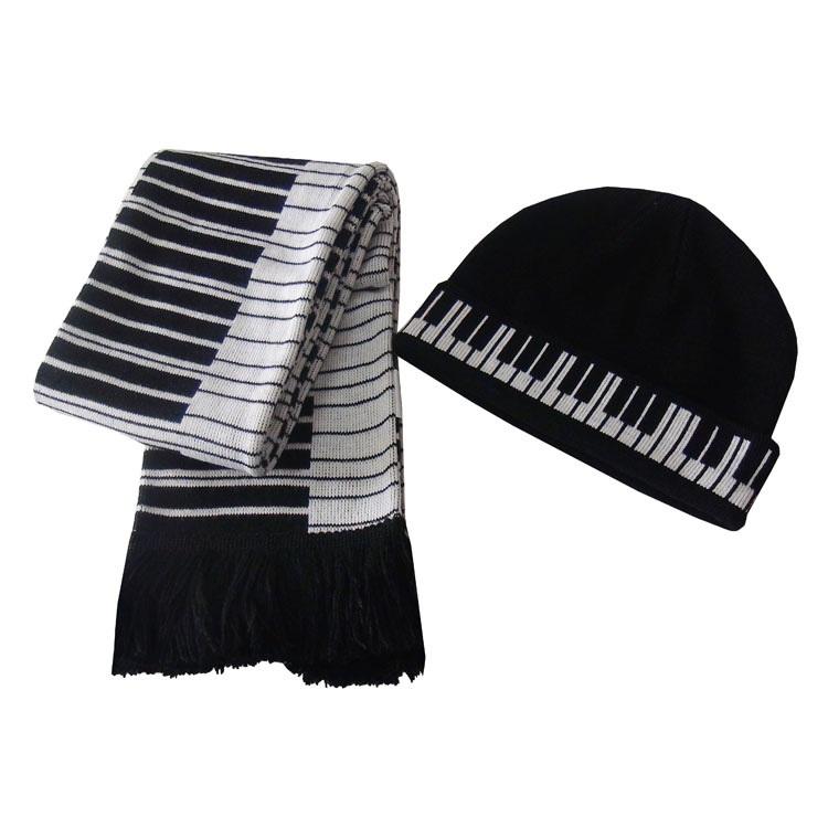 [해외] 피아노 자카드 따뜻한 니트 모자 스카프 패션 음악 노트/Free shipping fashion music notes piano jacquard warm knitted hat scarf sets