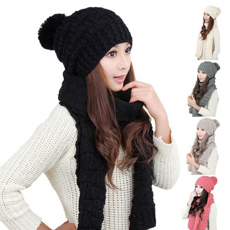 [해외]??따뜻한 가을 겨울 모직 스카프 따뜻한 두꺼운 니트 모자 양모 스카프 + 따뜻한 모자 세트 2 점 세트/  Warm Autumn and winter  wool scarf for women thicken warm knitted hat wool scarf + wa