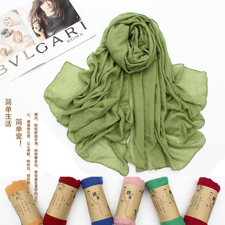 [해외]여름 봄 솔리드 코튼 대형 레이디 스카프 코튼 스카프 여성 부드러운/Summer Spring Solid Cotton Large  Lady Scarf Cotton Scarf Women soft