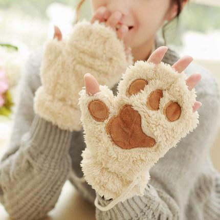 [해외]하프 핑거 두꺼운 장갑 귀여운 곰 발 만화 울 따뜻한 가을 겨울 손가락이없는/Half Finger Thick Gloves Cute Bear Paw Cartoon  Wool Warm Autumn Winter Fingerless