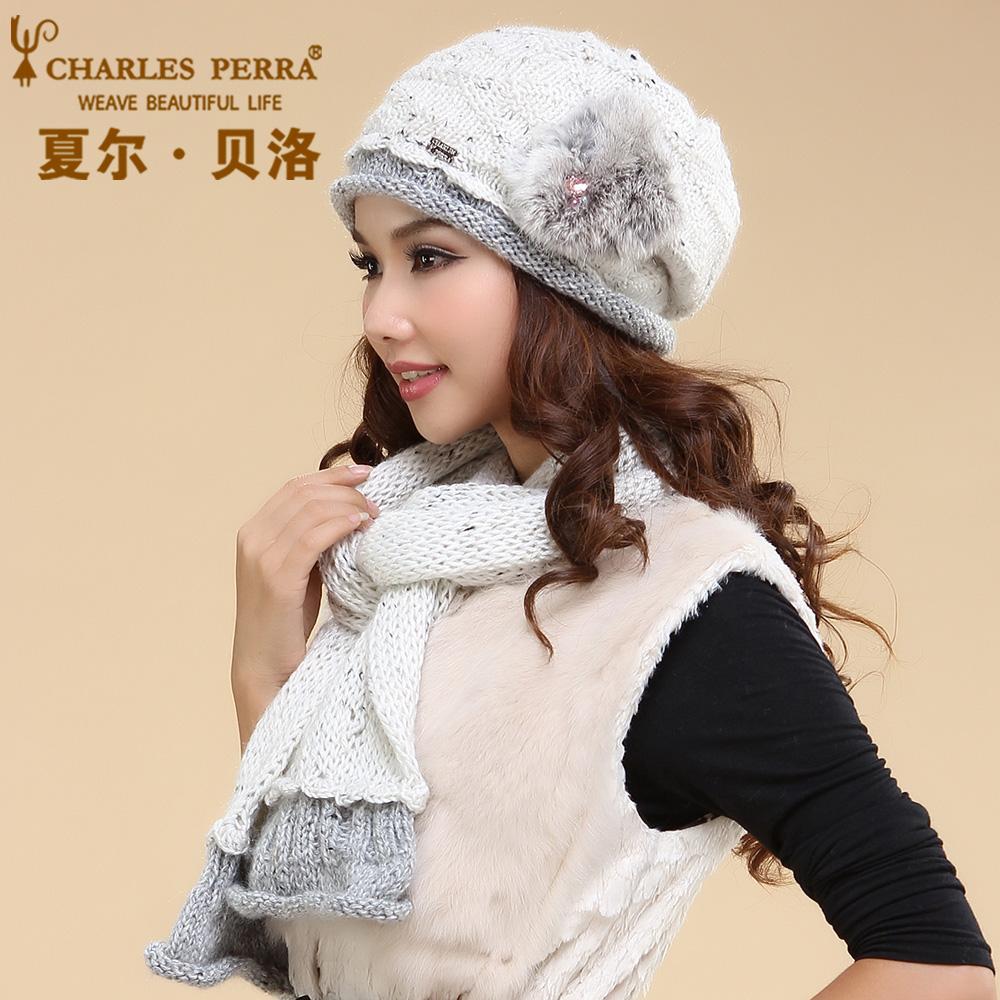 [해외]찰스 Perra 여성 모자 스카프 세트 더블 레이어 겨울 Thicken 양모 니트 모자 캐주얼 수제 짠 모직 Beanies 모자 3033/Charles Perra Women Hat Scarf Sets Double Layer Winter Thicken Wool K