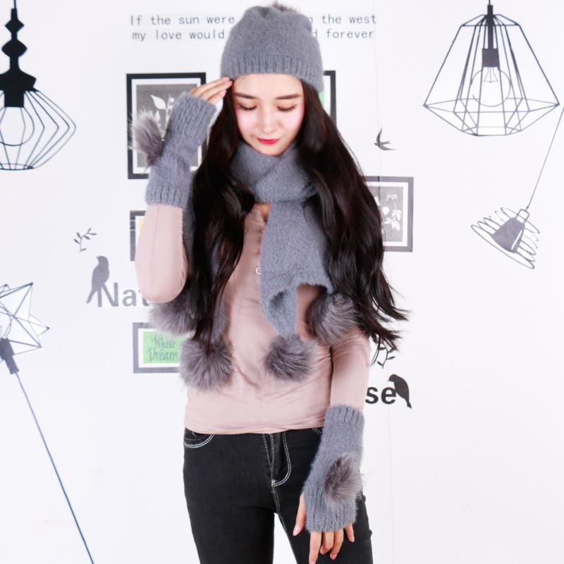[해외]스카프 모자 장갑 달콤한 양모 원사의 겨울 한국어 버전은 크리스마스 선물에 대한 캐시미어 볼 복을 뜨다/Scarf hat glove three pieces of winter Korean version of the sweet wool yarn knitted cas