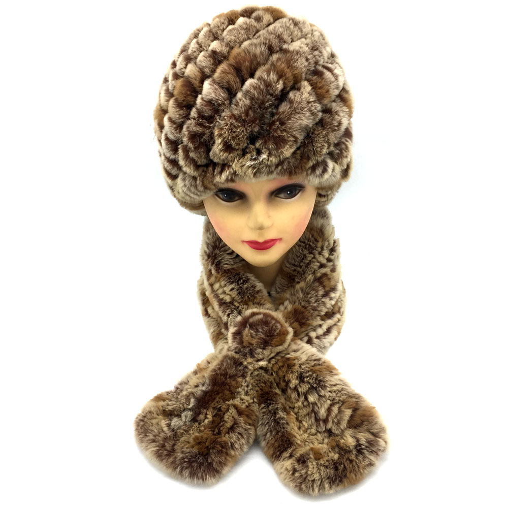 [해외]겨울 여자들은 따뜻한 진짜 렉스 토끼 모피 모자 니아신 렉스 토끼 모피 스카프 2 조각 세트 패션 헤드 기어와 머플러/Winter women warm real rex rabbit fur hatnatural rex rabbit fur scarf 2 pieces s