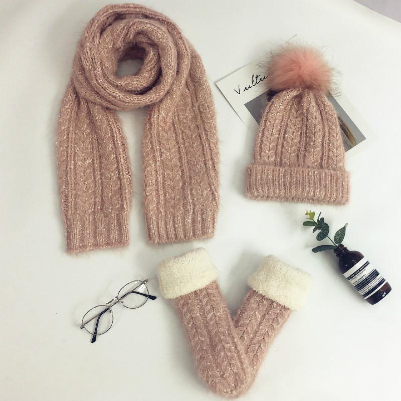 [해외]쓰리 피스 여성 겨울 니트 양모 스카프 모자, 벨벳 장갑 따뜻한 양모 장갑, 모자 스카프 정장/Three-piece Female Winter Knitted Wool Scarf Hat, Plus Velvet Gloves Warm Wool Gloves, Hats S