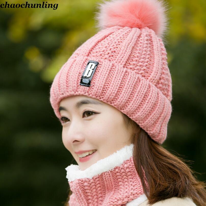 [해외]한국어 2017 새로운 겨울 숙녀 두 조각 Kniting HatsScarf 검정, 빨강, 빨강, 분홍색, 회색 5 색 레이디 두꺼운 모피 모자/Korean 2017 New Winter Ladies Two Pieces Kniting HatsScarf Black,