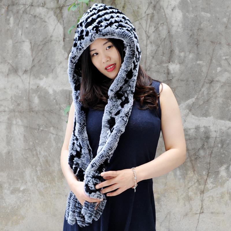 [해외]CX-C-17G 겨울 따뜻한 여성 니트 렉스 모피 후드 스카프 모자 DROP SHIPPING/CX-C-17G Winter Warm Women Knit Rex Fur Hooded Scarf Hat  DROP SHIPPING