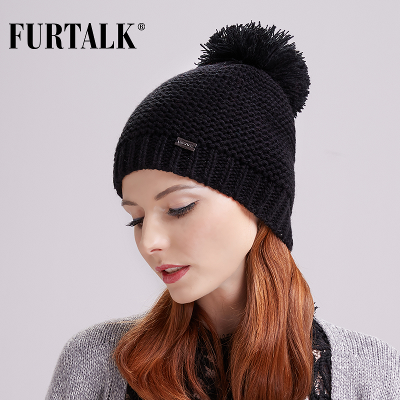 [해외]FURTALK 겨울 여성 모자 양모 대형 Pom Pom 모자/FURTALK Winter Women Hat Wool Knit Large Pom Pom Hat