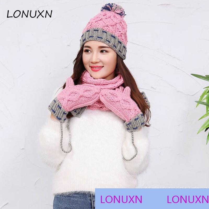 [해외]3 조각 / 3 색상 한국 겨울 색상 매치 캐시미어 양모 스카프 + 모자 + 장갑 정장 모든 일치 새로운 따뜻하고 편안한/3 pieces/lot 3 colors Korean winter color matchingcashmere wool scarf+ hat+ gl