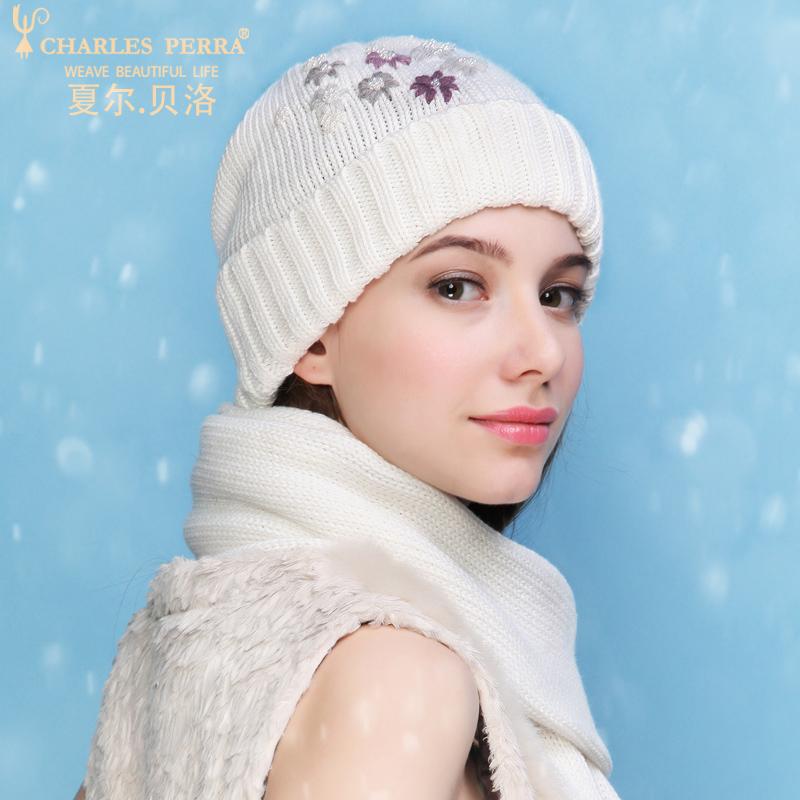 [해외]찰스 페라 NEW 여성 겨울 모자 스카프 투피스 세트 자수 캐쥬얼 우아한 레이디 싱글 레이어 니트 모자 3322/Charles Perra NEW Women Winter Hats Scarves Two-Piece Sets Embroidery Casual Elegan