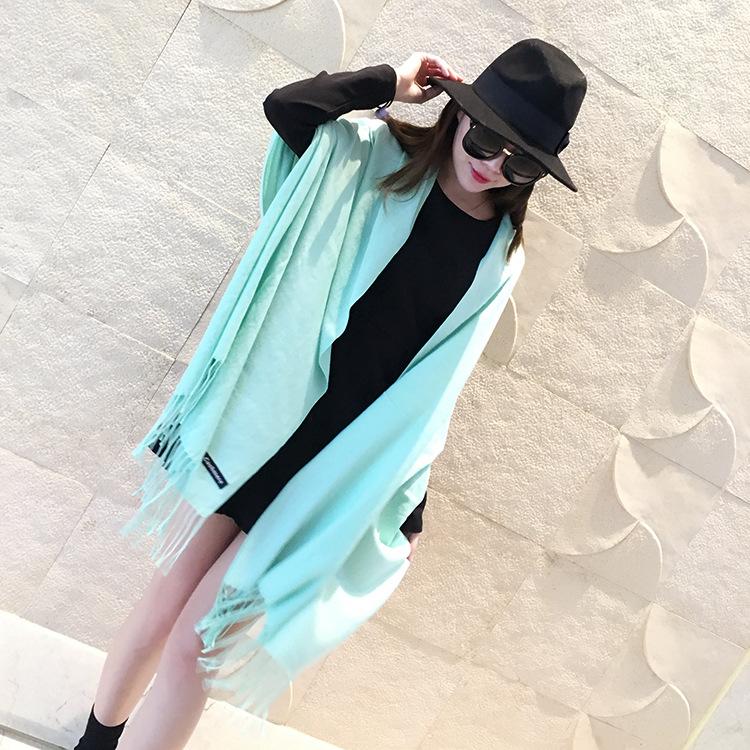[해외]새로운 패션 여성 레이디 캐시미어 로고 스카프 순수한 색상 Macarons 색상 따뜻한 겨울 가을 스카프 액세서리 선물/New Fashion Women Lady Cashmere Logo Scarf Pure color Macarons Color Warm Winte