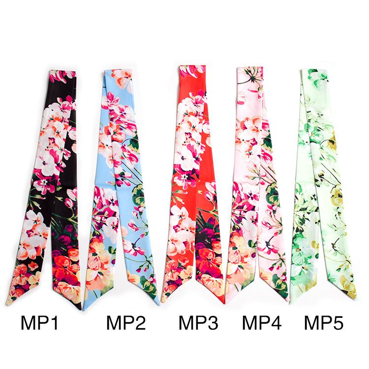 [해외]새로운 패션 여성 좁은 스카프 묶여 작은 리본 목 인공 실크 꽃 사쿠라 사탕 Delicady 다기능 스카프 100 * 5CM/New Fashion Women Narrow Scarf Tied Small Ribbon Neck Artificial Silk Floral