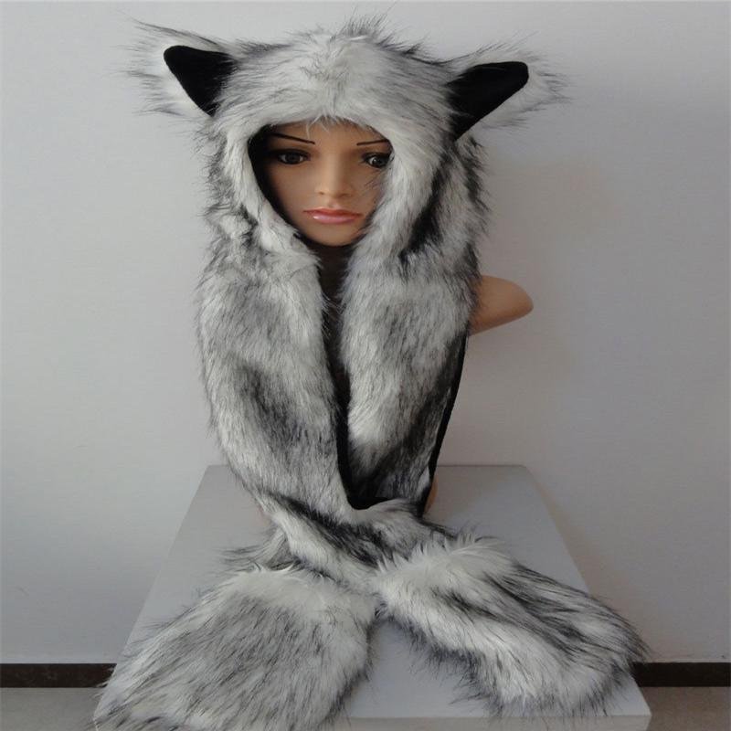 [해외]가짜 모피 후드 동물의 여자 망 모자 귀 플랩 핸드 포켓 3 1 모자 늑대 플러시 겨울 따뜻한 CapLong 스카프 장갑 장갑/Faux Fur Hood Animal Womens Mens Hat Ear Flaps Hand Pockets 3 in 1 Hat Wolf