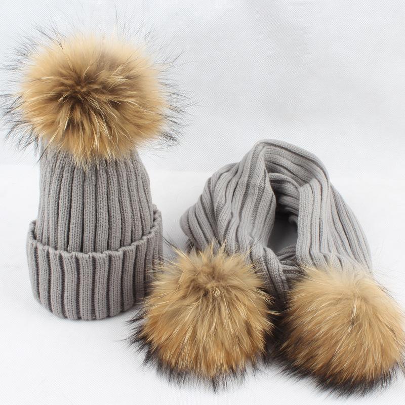 [해외]레이디 패션 아크릴 따뜻한 스카프 모자 Sets15CM 너구리 모피 Pom 기성품 여성 모피 목 반지 모자 VF4033/Lady Fashion Acrylic Warm Scarf Hat Sets15CM Raccoon Fur Pom Poms Women Fur Nec
