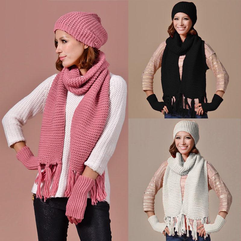 [해외]UniWomens 남성 니트 스키 비니 모자 따뜻한 모자 스카프와 장갑 ??겨울 세트/UniWomens Mens Knitted Ski Beanie Cap Warm Hat Scarf and Gloves Winter Set