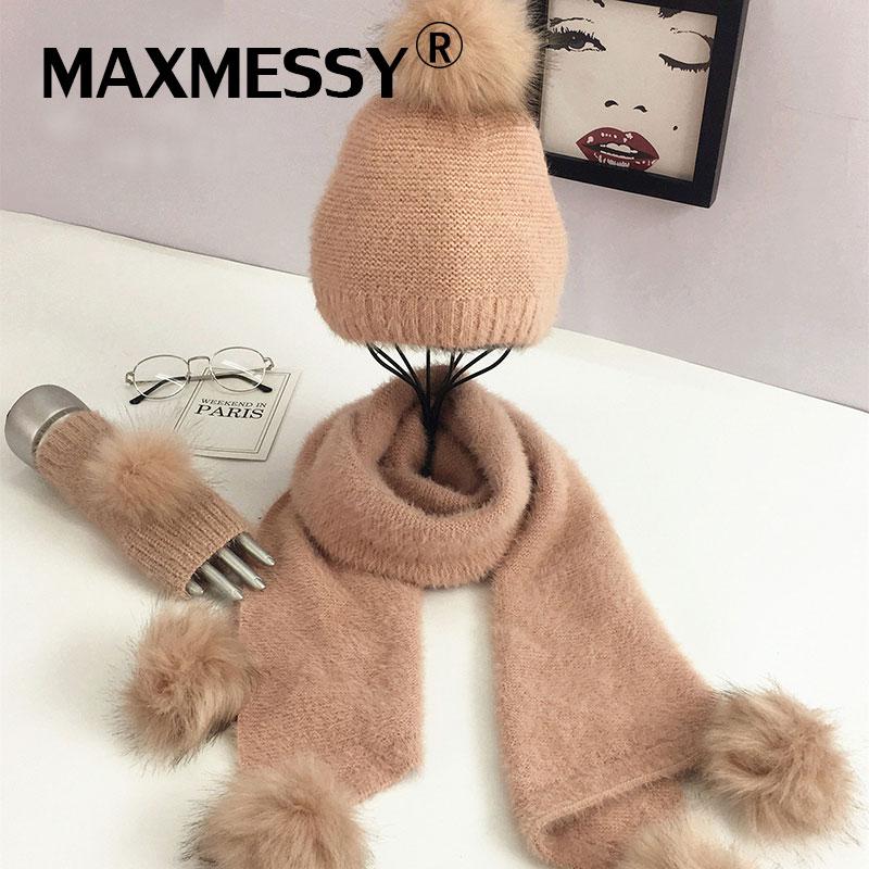 [해외]MAXMESSY 스카프 모자 장갑 세트 겨울 모피 퐁퐁 패션 브랜드 새로운 웜 모자 스컬리 장갑 Femme MH162/MAXMESSY Scarf Hat Glove Sets Women Winter Fur Pompom  Fashion Brand New Warm Ca