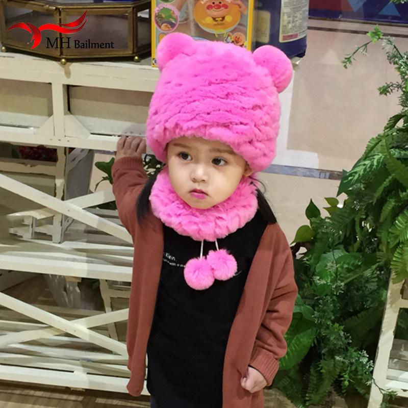 [해외]겨울 Shildren 따뜻한 진짜 렉스 토끼 모피 모자와 스카프 귀여운 사랑스러운 어린 소녀 패션 모자형 머플러 A6/Winter Shildren Warm Real Rex Rabbit Fur Hat and Scarf Cute Lovely Young Girl Fa